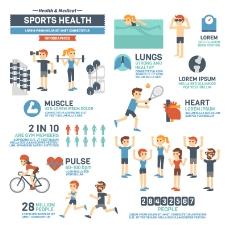 卡通运动保健信息图矢量素材