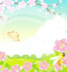 桃花风景矢量图下载