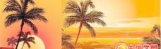 2款日落海边椰影矢量素材