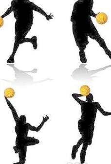 4个篮球运动动作人物剪影矢量素材
