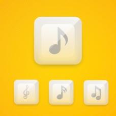 设置光滑的音乐Web 20图标或者按钮黄色背景