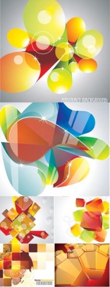 多彩立体元素文本框背景矢量素材