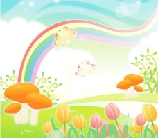 彩虹风景矢量图下载
