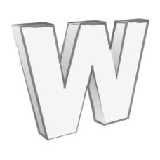 复古的3D字母W的文本向量