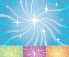 星光与旋转线条背景矢量