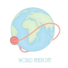 摘要世界卫生日的概念 对全球的灰色背景