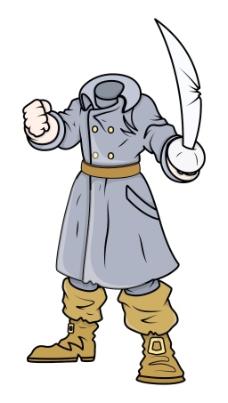 无头的海盗船长矢量卡通插画