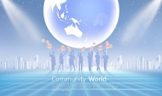 会议蓝色背景PSD图片