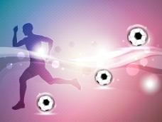 一个闪亮的足球在有光泽的波背景的足球运动员的剪影