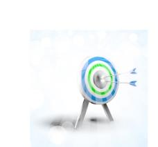 在击球飞镖抽象的蓝色背景的目标
