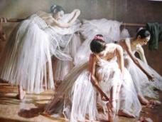 芭蕾演员油画