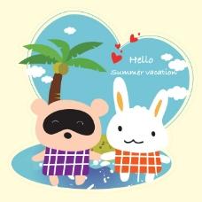 印花矢量图 可爱卡通 卡通动物 浣熊 兔子 免费素材