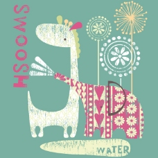 印花矢量图 可爱卡通 卡通动物 长颈鹿 大象 免费素材