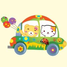 印花矢量图 可爱卡通 卡通动物 小熊 小猫 免费素材