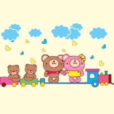 印花矢量图 可爱卡通 卡通动物 小熊 云朵 免费素材