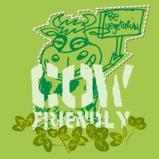 印花矢量图 可爱卡通 卡通动物 奶牛 植物 免费素材