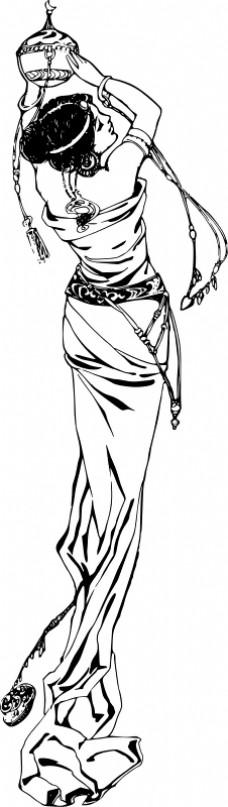 在一个时髦的衣服的女士