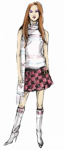 服装模特走秀手绘