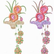 绣花 植物花卉 藤蔓 吊篮 家纺 免费素材