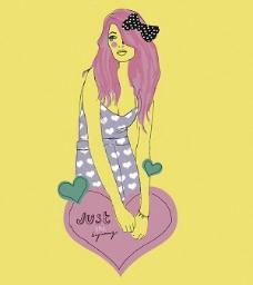 位图 时尚休闲女装 色彩 抽象 人物 免费素材