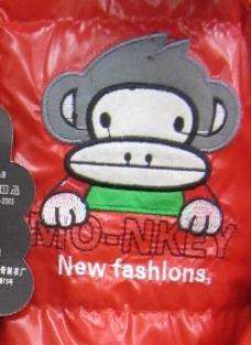 贴布 卡通形象 猴子 灰色 卡通文字 免费素材