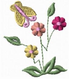 绣花 植物花卉 昆虫 蝴蝶 家纺 免费素材