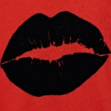 位图 靓仔装 T恤图案 嘴唇 黑色 免费素材