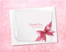 粉色蝴蝶结卡片背景矢量素材
