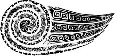 印花矢量图 古代雕刻 云 黑白色 民族 免费素材