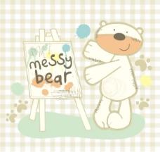 印花矢量图 动物 文字 图文结合可爱卡通 熊 免费素材