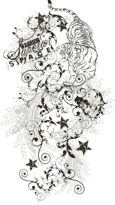 印花矢量图 优雅植物 玫瑰花 色彩 黑色 免费素材