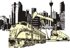 印花矢量图 色彩 交通 黑白色 黄色 免费素材