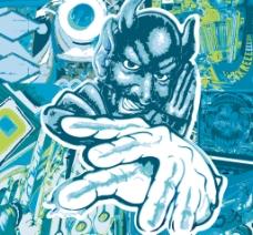 印花矢量图 人物 色彩 蓝色 抽象 免费素材