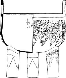 印花矢量图 古代雕刻 鼎 黑白色 民族 免费素材