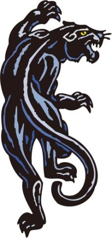 印花矢量图 动物 豹 黑白色 蓝色 免费素材