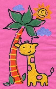 绣花 植物 椰子树 动物 长颈鹿 免费素材