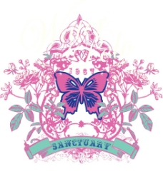 印花矢量图 动物 昆虫 蝴蝶 文字 免费素材
