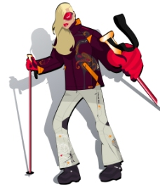印花矢量图 人物 女人 滑雪 金发 免费素材