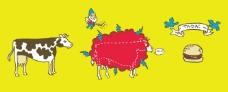 位图 插画 动物 奶牛 汉堡包 免费素材