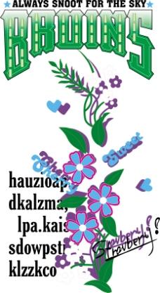 印花矢量图 优雅植物 花 草 文字 免费素材