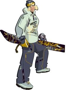 印花矢量图 人物 青年 滑雪 运动 免费素材