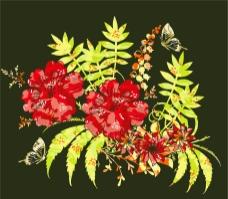 印花矢量图 优雅植物 草 花 色彩 免费素材