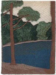 绣花 植物 树 大山 湖 免费素材
