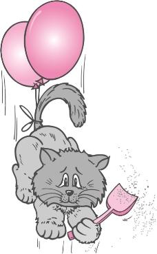 印花矢量图 动物 猫 气球 铲子 免费素材