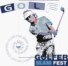 印花矢量图 人物 高尔夫 运动 文字 免费素材