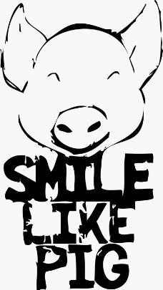 印花矢量图 动物 猪头 文字 英文 免费素材