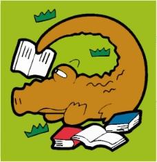 位图 卡通动物 鳄鱼 可爱卡通 草 免费素材