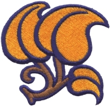绣花 树叶 棕色 橘黄色 免费素材