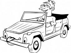 男孩驾驶汽车的卡通