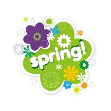 春季花朵标签矢量素材